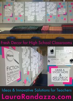 Use interactive classroom displays to amuse your students (and impress your administrators) • Lots of ideas at laurarandazzo.com, high school English teacher blog