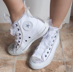wedding converse, High top wedding trainers with crystals, lace & pearls. Wedding trainers, , bridal Converse,wedding tennis shoes by TheCherishedBride