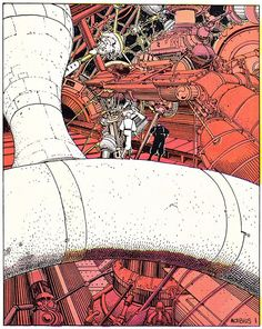 Airtight Garage -  Mind-breakingly good art by Jean Giraud (Moebius).  The story is a little scattershot, but this particular aspect can be forgiven, because we end up being taken to such weird and wonderful places by it.
