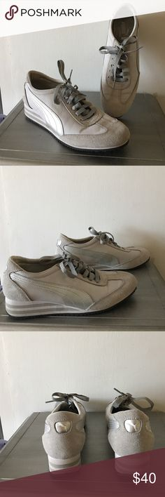 Retro Puma Tennis Shoes Gray nylon and suede with silver metallic stripe with 1 1/2 striped heel.  Never worn. puma Shoes Athletic Shoes