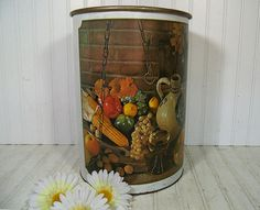 Vintage Primitive Still Life Lithograph Off White Enamel Metal Large Round Waste Can - Retro Ballonoff Over Sized Decorator Trash Basket Bin $32.00 by DivineOrders