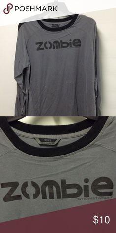 Zombie TNT Streetwear Gray with black print Shirts Tees - Long Sleeve