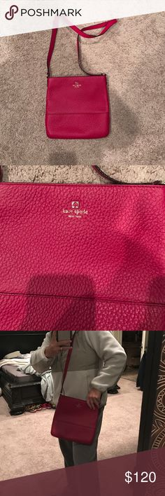 NWOT Kate Spade red pebbles leather cross body Red pebbled leather with gold hardware. Never used. NWOT 10 inch wide, 10 inch length  1 inch width. Beautiful purse! kate spade Bags Crossbody Bags