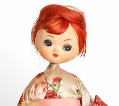 Can this little redhead doll Be any cuter! Vintage 60s Silk Rose Kimono Pose Doll Red Hair