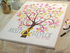 Canvas Guestbook  Thumbprint Tree on Wrapped Canvas door TaylorSomae, $55.00