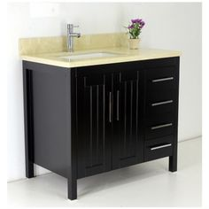 "36"" espresso vanity features solid wood construction, marble top and ceramic sink.  Model vp033 Regular $799 Sale $499; faucet extra"