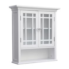 Elegant Home Fashions Andi W x H x D White Bathroom Wall Cabinet at Lowe's. This floor cabinet offers sleek lines for a modern look. This cabinet features two glass doors accented with grid-work design and beveled molding. Wall Storage Cabinets, Bathroom Wall Cabinets, Bathroom Furniture, Bathroom Storage, Storage Shelves, Bathroom Ideas, Furniture Storage, Mdf Shelving, Door Furniture