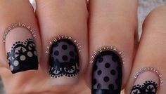 Black nail art designs can instantly add glamour to your look. We have collected all different type of black nail art designs you will surely love to try. Nail Art Designs 2016, Black Nail Designs, Cute Nail Designs, Lace Nail Art, Lace Nails, Gorgeous Nails, Pretty Nails, Perfect Nails, Nagellack Design
