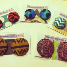 A handful of new patterns available now at www.mynaturalstate.storenvy.com #kente #african #tribal #chevron #tatoo #animalprint #urban #trendy #2013 #afrocentric #afro #naturalhair #earcandy #bigaccessories #statementjewelry