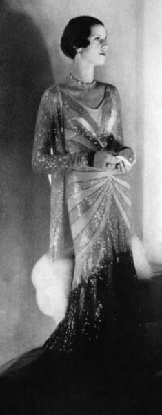 Evening Gowns: 1930 Vogue UK glitter beaded long gown art deco evening wear unique graphic design with coat hair necklace photo print ad model 1930s Fashion, Art Deco Fashion, Retro Fashion, Vintage Fashion, Vogue Fashion, Old Hollywood Glamour, Vintage Glamour, Vintage Beauty, Vogue Uk