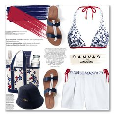 """Paint Your Look With Canvas by Lands' End: Contest Entry (Beach Day)"" by mood-chic ❤ liked on Polyvore featuring Lands' End, Acqua di Parma, Natura Bissé, Herbivore, Canvas by Lands' End, Balmain and Whiteley"