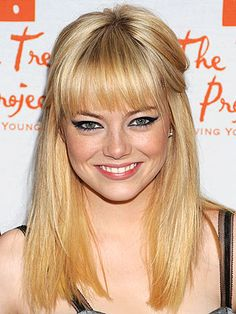 emma-stone-bangs. Bangs for round face, square face, oval face... can you pull off bangs?