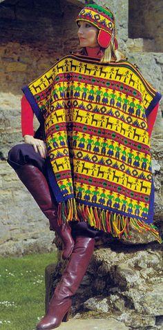 Knit Peruvian Poncho and Helmet 1970's UK Vintage Crocheting PDF PATTERN on etsy