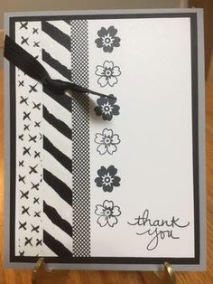 Clean & Simple. Black and White Monochromatic; Everyday Chic Washi Tape; Endless Thanks Stamp Set; Bloomin' Love Stamp Set