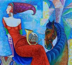 Painting by Mongolian artist Zayasaikhan Sambuu