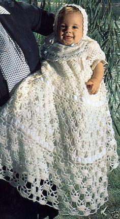 Baby Christening Dress - Free Crochet Pattern - Scroll Down For Pattern - (knittingparadise)