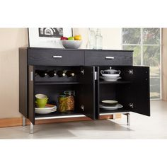 Furniture Of America Mason Black Finish Buffet Dining Server By