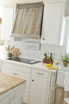 Wood Range Hood Vent Hood Cover Coastal Farmhouse Kitchen by