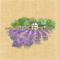 AMARNA ARTESANATO E IMAGENS: FUNDO DE SERAPILHEIRA COM IMAGENS DE LAVANDA - Food Sketch, Lavender Soap, Decoupage, Herbs, Embroidery, Painting, Color, Magic, Purple