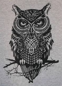 Choice of Colors Celtic Owl Norse Regular Crew T-Shirt BL #Gildan #BasicTee
