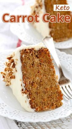 """Diet Recipes """"This Keto Carrot Cake is perfect all year round! It's one of those keto recipes you will want to make over and over again!"""" Keto Carrot Cake - You must try this recipe. Low Carb Desserts, Low Carb Recipes, Diet Recipes, Dessert Recipes, Slimfast Recipes, Dessert Ideas, Keto Desert Recipes, Low Calorie Cake, Breakfast Recipes"""