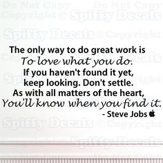 Steve Jobs Don't Settle vinyl wall quote by SpiffyDecals on Etsy, $20.99