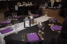 Ivory Lace Runners, Black Tablecloths and Purple Napkins!