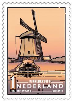 Ondermolen O in de Schermer (Noord-Holland), een binnenkruier, een molen waarbij het kruien (keren naar de wind) van binnenuit gebeurt.  http://collectclub.postnl.nl/pages/detail/s1/10220000001893-2-21010000000080.aspx