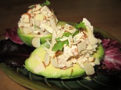 LOW CARB STUFFED AVOCADO: 1 avocado,  1 cup of diced chicken (packaged, canned or leftovers from a rotisserie chicken; or you can also use albacore tuna),  2 tbsp. of mayonnaise,  2 tbsp. of diced celery,  1 tbsp. of diced onions,  salt & pepper to taste.