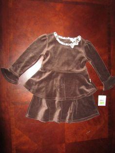 bab37dc9d NWT LE TOP brown velvet long sleeved dress, leopard trim, ruffled bottom, 3T