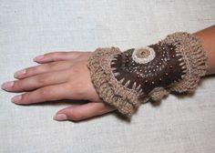 COUPON15% Felted Brown Bracelet Felt Cuff Crochet Fashion Modern Accessory Fiber Art Sale. $18.00, via Etsy.