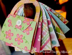 Simple DIY Notecard Purses. Cute as a party invite or just to send a note!   :-)