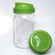 Ball® Wide Mouth Pour & Measure Cap with Wide Mouth Quart 32 oz. Glass Mason Jar,