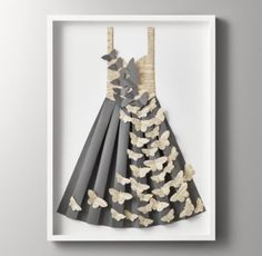 RH Baby & Child's Hand-Folded Paper Butterfly Dress - Dark Grey:High style with a hand-folded twist. Expertly crafted, our pleated paper dress makes for a striking sartorial display. Handmade for one-of-a-kind character in New Zealand and framed in the USA. No two are exactly the same.