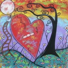 Art: Her Healing Heart by Artist Juli Cady Ryan Art Thérapeute, Fun Art, Mental Health Art, Child Loss, Heart Illustration, Healing Heart, Heart Painting, Art Portfolio, Whimsical Art