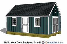 Garden Shed Plans - Backyard Shed Designs - Building a Shed 12x20 Shed Plans, Lean To Shed Plans, Run In Shed, Free Shed Plans, Cabin Plans, Shop Plans, Storage Building Plans, Storage Shed Plans, Building A Shed