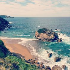 The Estaño beach in Asturias, Spain. Almost disappears at high tide but amazing nonetheless.