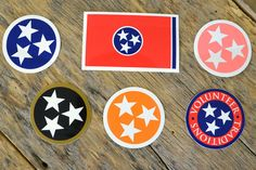 Tennessee Tristar Decals State Flag Volunteer Traditions Car Stickers. For HCA -- the red white and blue square. For me the black and gold stars for Vandy.