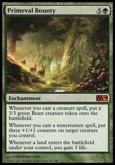 Primeval Bounty - Magic 2014 Magic: the Gathering - Online Gaming Store for Cards, Miniatures, Singles, Packs & Booster Boxes Magic Playing Cards, Playing Card Games, Magic Cards, Magic The Gathering Karten, Mtg Decks, Mtg Altered Art, Fun Card Games, Beast Creature, Writing Fantasy
