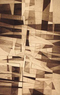 Suspension John Paul Jones Etching, engraving, aquatint and soft-ground John Paul Jones, Cubism, Led Zeppelin, Op Art, Custard, Textures Patterns, Maths, Iowa, Art Museum