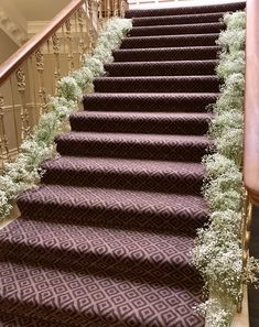 Beautiful staircase at Ashfield House dressed in lovely fresh babies breath. Babies Breath, Civil Ceremony, House Dress, Bridal Flowers, Floral Wedding, Floral Design, Fresh, Beautiful, Decor