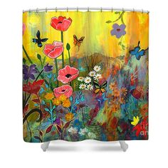 "Pink Poppies In Paradise Shower Curtain by Robin Maria  Pedrero.  This shower curtain is made from 100% polyester fabric and includes 12 holes at the top of the curtain for simple hanging.  The total dimensions of the shower curtain are 71"" wide x 74"" tall."