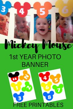 Are you planning a Mickey Mouse Clubhouse first birthday party? This first year photo banner is a great party decoration idea to add to the collection! Quick and easy to make too!