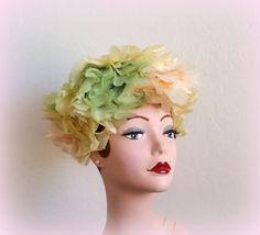60s Pastel FLORAL Turban  Pale Yellow Green & by Cherrycrushretro