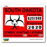 South Dakota SD Zombie Hunting License Permit Red - Biohazard Response Team -