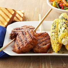 These savory Barbecued Pork Chops on a Stick are made with a homemade cherry barbecue sauce. Recipe: http://www.bhg.com/recipe/sauces/barbecued-pork-chops-on-a-stick/?socsrc=bhgpin063012