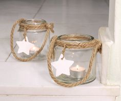 sisal twine with star, tealight candle