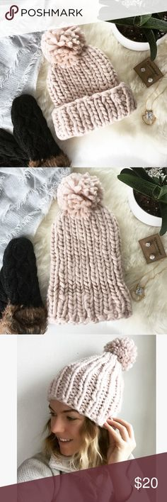 HP - CHUNKY KNIT POM HAT - Soft pink and oh so cozy this hat is perfect for snowy winter walks! ❄️ Wear with an oversized scarf and booties for the perfect cozy winter vibe. 100% acrylic, can be worn rolled up or unrolled for a slouchier look. NWT comes in original dust bag.  Perfect stocking stuffer!  Bundle & Save 20% on 2+ items! No trades / selling off of Posh.  ✨Offers always welcome!✨ Claire Louise Boutique Accessories Hats