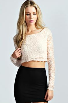3489acfdef316 Sienna Long Sleeve Lace Crop Top Formal Crop Top