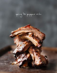 Spicy (but not too spicy) dr pepper ribs | pretty plain janes [baby back ribs + Dr Pepper, can of chipotle peppers in adobo sauce, spicy brown mustard, garlic]  Prep time 8 hours. Cook time 2 hours 40 mins